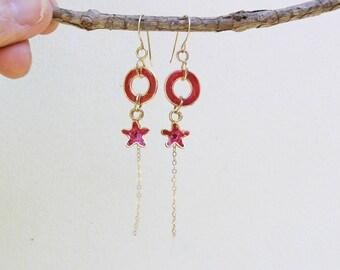 Dainty earrings, Delicate earrings, Long earrings, Red earrings, Small flowers earrings,  Gift for best friend, Everyday earrings.