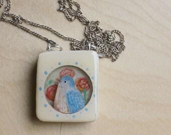 Blue Bird Illustration necklace
