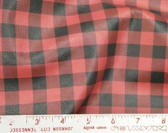 "Again ReSTOCKED Leather 8""x10"" Mini BUFFALO PLAID Red and Black Cowhide Digital Print 2 oz/ 0.8 mm PeggySueAlso™ E1180-01"