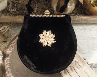 Vintage G D K Black Velvet Bag / Handbag / Purse / Wristlet / Clutch / Black Purse / Handbags by GDK / Rhinsones