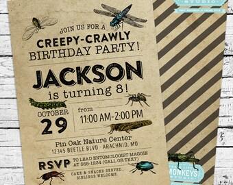 Vintage Bugs Entomology Birthday Invitation + Thank You Note