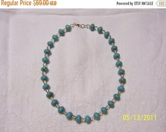 CLEARANCE 36% OFF, Turquoise Color Magnesite and crystal necklace.
