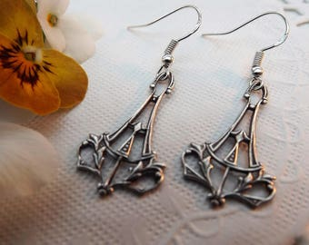 Art Nouveau Silver Plated Ornate Drop Earrings
