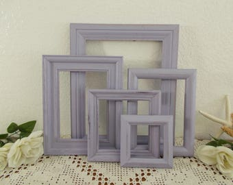 Lavender Purple Picture Frame Set Photo Gallery Collection Up Cycled Vintage Wood Rustic Shabby Chic French Country Farmhouse Home Decor