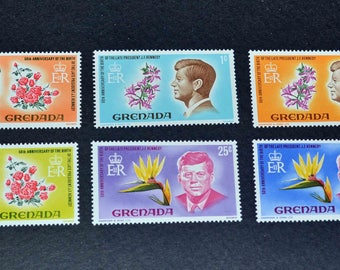 Grenada 6 Mint stamps 1968  US President John F Kennedy