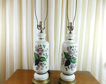 Vintage  hand painted  floral lamps ,MCM Hollywood Regency lamps,  set of two signed,