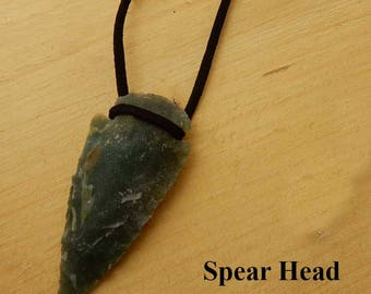 Spear Head Pendant. Green jasper spear head hung on black leather. Gift for him or her. Birthday gift. Friendship gift. Boyfriend gift.