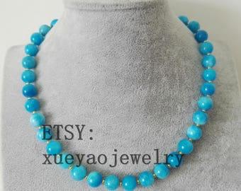 jade necklace- blue jade necklace, 10 mm jade necklace, free shipping