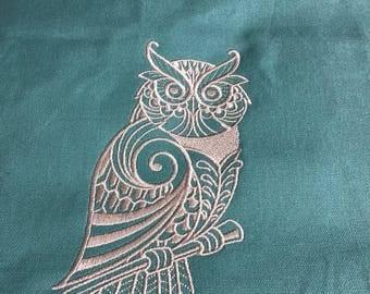 New Tea Kitchen towel embroidered Mehndi OWL