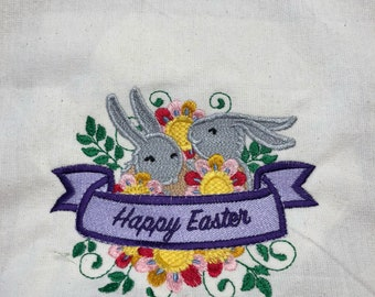 NEW Tea Towel embroidered with Easter HAPPY Easter