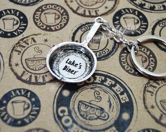 Gilmore Girls, Gilmore Girls Keychain, Luke's Diner Frying Pan Key Chain, Gilmore Girls Gift, Stars Hollow, Luke's Diner, Lorelai Gilmore
