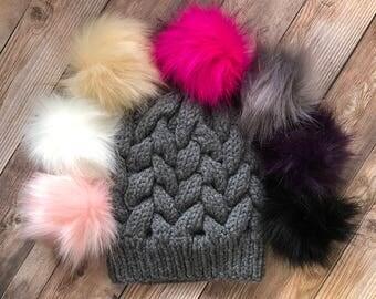 Womans Cable Knit Hat, Pom Pom Hat, Beanie, Womens Accessories, Teen Hat, Teen Beanie, Teen Accessories, Faux Fur Pom Pom Hat