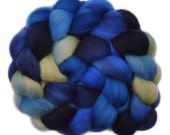 Handpainted roving - Corriedale Cross wool spinning fiber - 4.1 ounces -  Water Over the Dam 1
