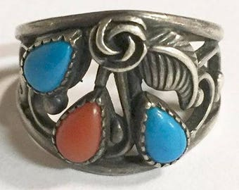 Vintage Sterling Silver with Blue Turquoise and Red Coral Ring Size 7