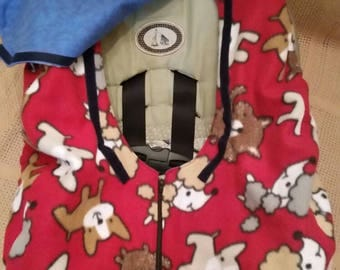 Boy Infant Car Seat Cover Red with Puppies Fleece with Blue Flannel