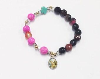 Rosary bracelet, Two tone bracelet, Religious, Beaded Bracelet, Elastic Bracelet, Catholic Bracelet, Gifts, Woman's Bracelet, Present, Pink