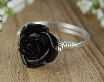 Black Rose Ring- Sterling Silver, Yellow or Rose Gold Filled Wire Wrapped Ring with Black Acrylic Rose - Any Size 4,5,6,7,8,9,10,11,12,13,14