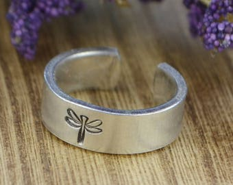Dragonfly Adjustable Ring- Hand Stamped Aluminum Bug Ring - Any Size- Size 4, 5, 6, 7, 8, 9, 10, 11, 12 half and quarter sizes available