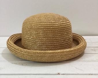 Vintage 90's Straw Bowler Blossom Hat Large