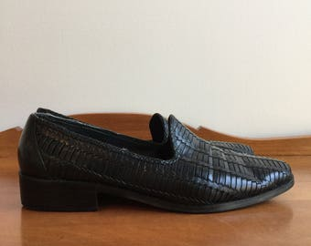 Vintage 80's Black Woven Leather Loafers Shoes 9
