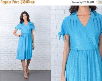 Sale Vintage 80s Blue Retro Dress Terry V neckline Midi Cutout Shoulder Small S 7148
