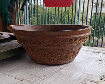 Etched Wood Bowl Planter, Vintage Savage Bowl, Rustic Planter Junglaow Decor, Distressed Trinket Bowl, India Wood Relief Primitive Planter