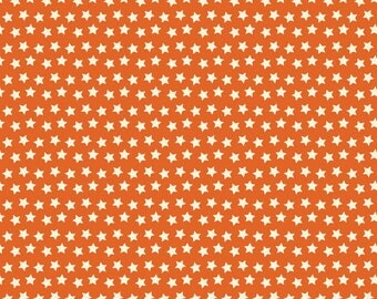 Twilight Stars on Orange from Blend Fabric's Boo Crew Collection by Maude Asbury