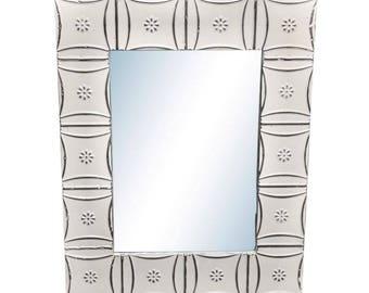 Snowflake 28 in. x 34 in. Tin Mirror