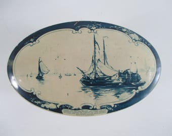 Droste Chocolate Oval Tin, Vintage Delft Blue, Haarlem, Holland Scenes Cocoa Decorative Storage European Country Decor