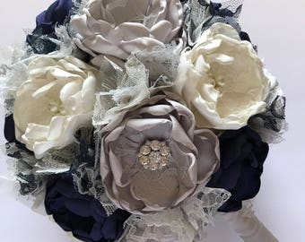 Navy, Cream and Silver - Fabric Bridal Bouquet - Fabric Wedding Flowers, Brides Bouquet, Bridal, Heirloom Bouquet, Handmade Flowers, Bride
