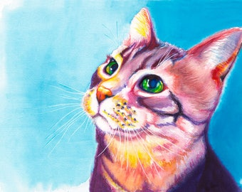 Colorful Cat Watercolor Fine Art Print on Paper, Metal or Bamboo