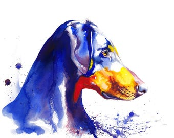Doberman Pinscher Dog Watercolor Fine Art Print on Paper, Metal, or Bamboo