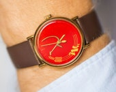 Hammer and sickle watch Rocket propaganda watch Soviet unisex red face watch gold shade Perestroika time watch new premium leather strap