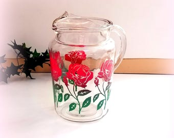 1950s Ice Lip Pitcher  - Blooming with Beautiful Red Roses - Vintage Glassware - So Pretty