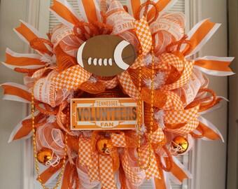 Tennessee Vols Wreath, Tennessee Sports Wreath, Tennessee Vols Decor, Sports Wreaths, Football Wreaths, Vols Orange White, UT Wreath, Sports