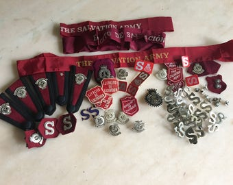 Vintage Salvation Army Uniform Pins, Badges, Ribbons from South America Mission