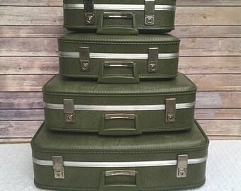 Retro Vintage Luggage Set Of 4 Textured Green Suitcase 70's Photo Prop Home Decor Stacking Storage Organizer
