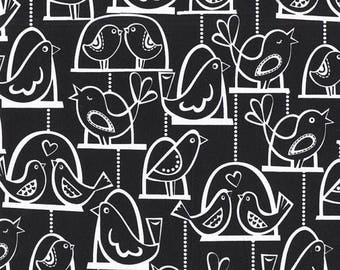 SHOP CLOSING SALE Fat Quarter fabric for quilt or craft Michael Miller Bird Swing in Black Fat Quarter