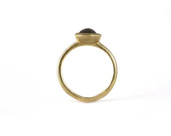 Brown Diamond Solitaire Engagement Ring | 14k Recycled Yellow Gold