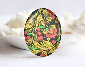 Oval Photo glass Cabochon Floral Image Glass Cover  (3785)