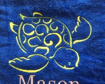 Sea turtle beach towel, custom personalized beach towels, kids towel, bath towel, wedding party gift, birthday gift, pool towel, vacation to