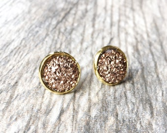 Rose Gold Druzy Earrings - Resin Druzy Earrings - Gemstone Earrings - Druzy Stud Earrings - Druzy Jewelry