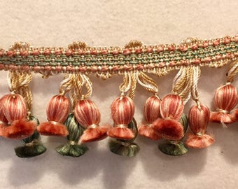 Vintage Drapery Trim - Tossils - Colors Peach, Green & Tan