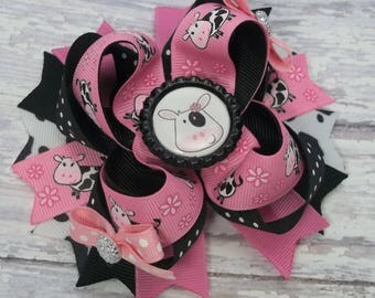 Pink And Black Cow Hair Bow - Boutique Cow Hair Bow - Pink And Black Cow Hair Clip, Accessory