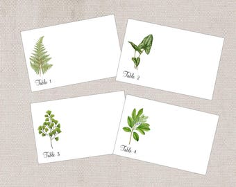 Botanical Place Cards, Woodland Wedding Place Cards, Woodland Escort Card, Leaf Escort Cards, Fern Place Cards, Numbered place/escort cards,