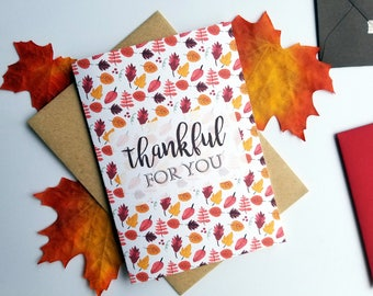 Thankful for You Thank You Card with Matching Kraft Envelope