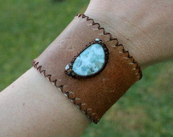 Leather Cuff - Larimar Stone - Stone of Serenity and Relaxation
