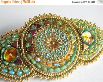 Summer sale -15% Free Shipping, Bead Embroidery,  Barrette, Wedding, Bridal jewelry,  Seed bead jewelry, Swarovski jewelry,  Green , Gold,Ha