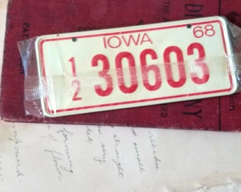 Vintage Iowa Bicycle Tag From 1968 - Retro MOD + Deadstock Bike License Plate, Home Decor, Wall Art, Iowa Gift, 1968 Iowa, OOAK Birthday