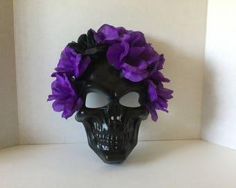 Mask,Black Skull Mask,Halloween Mask,Purple Flower Mask,Day of the Dead Mask,Handmade Mask,Party Mask